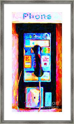Pay Phone . V2 Framed Print by Wingsdomain Art and Photography