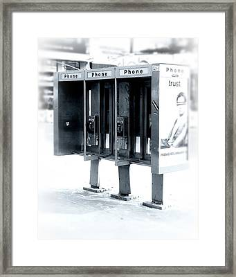 Pay Phones - Still In Nyc Framed Print by Angie Tirado