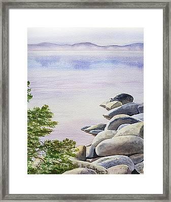 Peaceful Place Morning At The Lake Framed Print by Irina Sztukowski