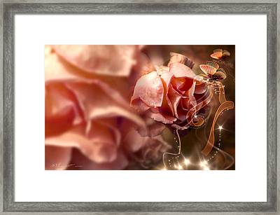 Peach Roses And Ribbons Framed Print by Svetlana Sewell