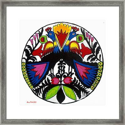 Peacock Tree Polish Folk Art Framed Print by Ania M Milo