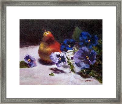 Pear With  Purple Pansies Framed Print by Jill Brabant