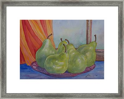 Pears At The Window Framed Print by Laurel Thomson