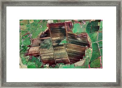 Peat Extraction Framed Print by Getmapping Plc
