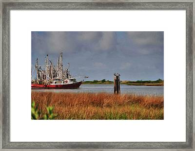 Pelican And The Red Shrimpboat Framed Print by Michael Thomas