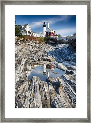 Pemaquid Point Reflections Framed Print by George Oze