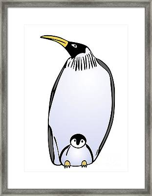 Penguin With Puppy Framed Print by Michal Boubin