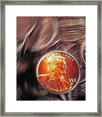 Pennies Abstract 2 Framed Print by Steve Ohlsen