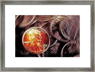 Pennies Abstract 3 Framed Print by Steve Ohlsen