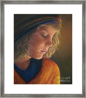 Pensive Natalia Framed Print by Nanybel Salazar