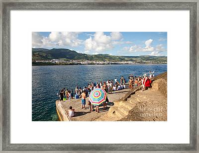 People Waiting At The Islet Framed Print by Gaspar Avila
