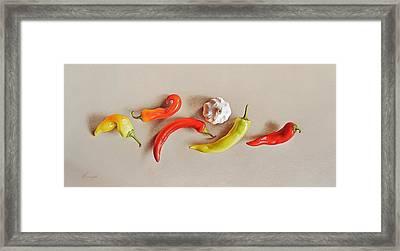Pepper Dance Framed Print by Elena Kolotusha