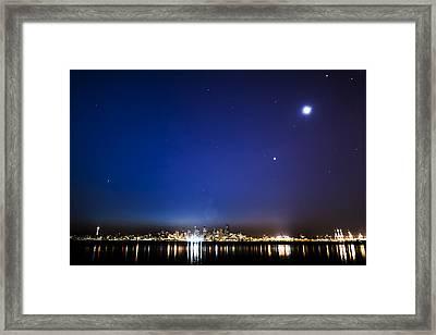 Perseid Meteor In Seattle Framed Print by Yoshiki Nakamura