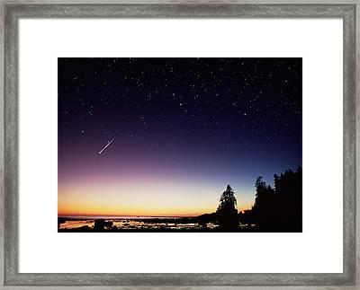 Perseid Meteor Trail Framed Print by David Nunuk