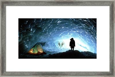 Person In Ice Cave, Appa Glacier Framed Print by David Nunuk