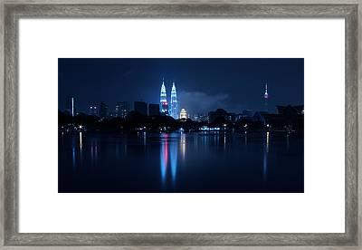 Petronas Towers Taken From Lake Titiwangsa In Kl Malaysia. Framed Print by Zoe Ferrie