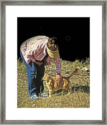 Petting The Ranch Cat Framed Print by Lenore Senior and Dawn Senior-Trask