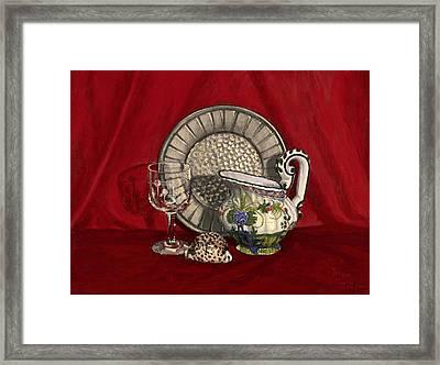 Pewter Dish With Red Cloth. Framed Print by Raffaella Lunelli