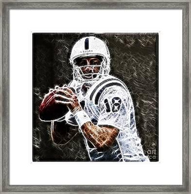 Peyton Manning 18 Framed Print by Paul Ward