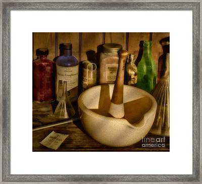 Pharmacist Tools Framed Print by Susan Candelario