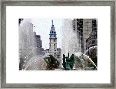 Philadelphia Fountain Framed Print by Bill Cannon