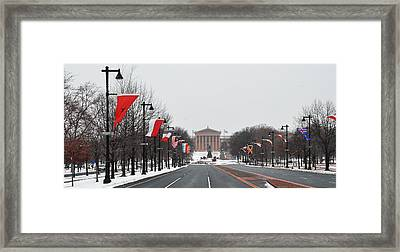 Philadelphia Parkway In The Snow Framed Print by Bill Cannon