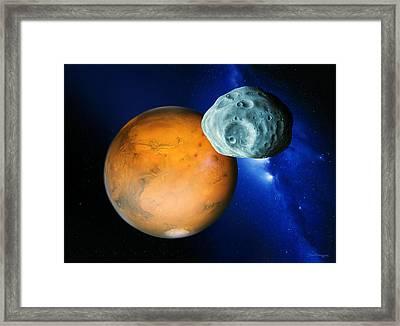 Phobos And Mars Framed Print by Detlev Van Ravenswaay
