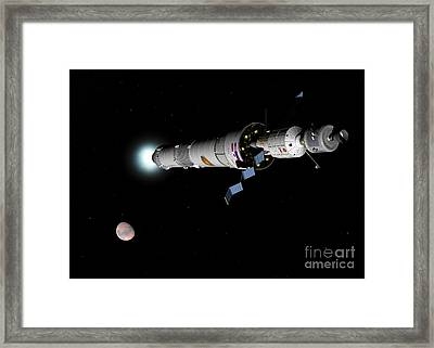 Phobos Mission Rocket Brakes For Mars Framed Print by Walter Myers