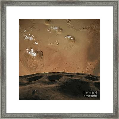 Phobos Orbits So Close To Mars That Framed Print by Ron Miller