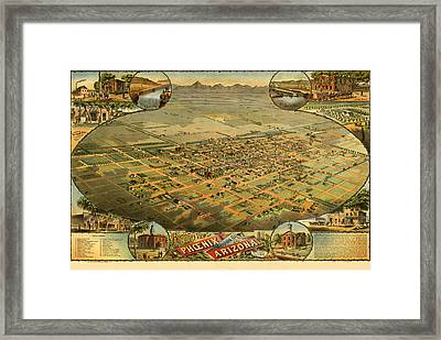 Phoenix Arizona 1885 Framed Print by Donna Leach
