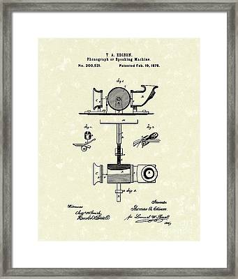 Phonograph 1878 Patent Art  Framed Print by Prior Art Design