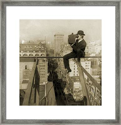 Photographer Perched On Slender Beam 18 Framed Print by Everett