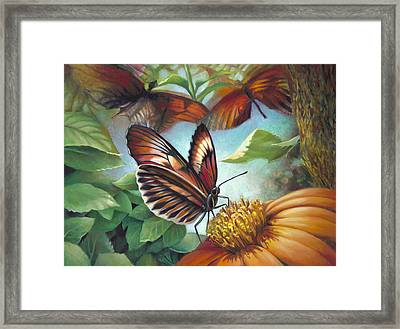Piano Key Butterfly Seduction Framed Print by Nancy Tilles