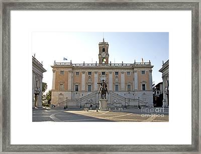 Piazza Del Campidoglio. Capitoline Hill. Rom Framed Print by Bernard Jaubert