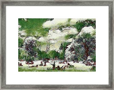 Picnic In Park Framed Print by Odon Czintos