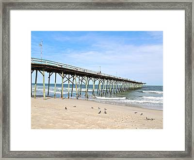 Pier At Kure Beach Framed Print by Eve Spring