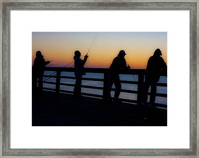Pier Fishing At Dawn II Framed Print by Betsy Knapp