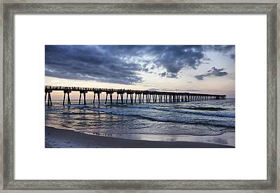 Pier In The Evening Framed Print by Sandy Keeton