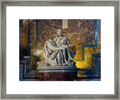 Pieta By Michelangelo Circa 1499 Ad Framed Print by Jon Berghoff