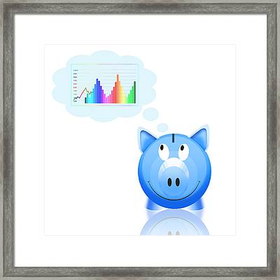 Piggy Bank With Graph Framed Print by Setsiri Silapasuwanchai