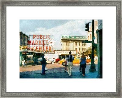 Pike Place Market Framed Print by Michelle Calkins