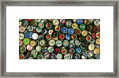 Pile Of Beer Bottle Caps . 2 To 1 Proportion Framed Print by Wingsdomain Art and Photography