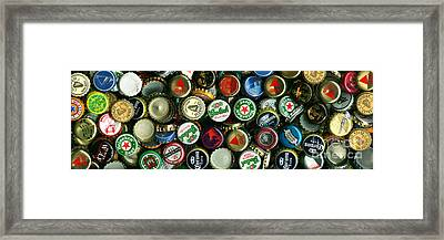 Pile Of Beer Bottle Caps . 3 To 1 Proportion Framed Print by Wingsdomain Art and Photography