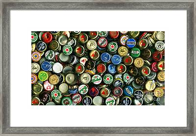 Pile Of Beer Bottle Caps . 9 To 16 Proportion Framed Print by Wingsdomain Art and Photography