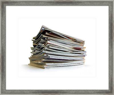 Pile Of Magazines Framed Print by Carlos Caetano