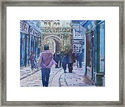 Pilgrims At The Gate Framed Print by Jenny Armitage