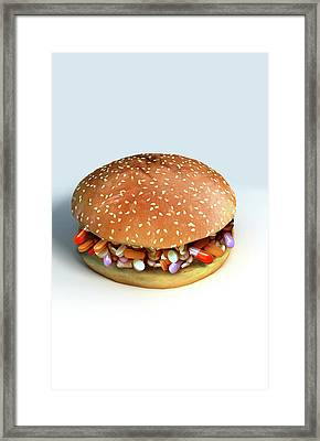 Pill Burger Framed Print by MedicalRF.com