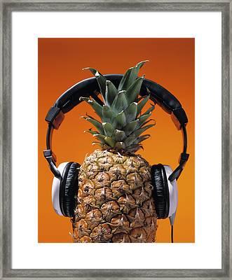 Pineapple Wearing Headphones Framed Print by Philip Haynes