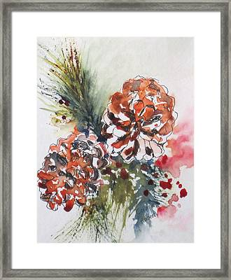 Pinecone Garland Framed Print by Corynne Hilbert