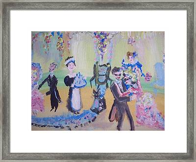 Pink And Blue Ball Framed Print by Judith Desrosiers